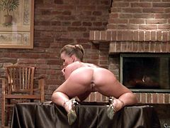 Silvia gives her best in front of the camera, further more, she likes it! The blonde whore slowly takes off her panties and poses in a few sensual positions. She bends over and shows that sexy ass and her bald pussy. Damn, this bitch loves the camera just as much we love seeing her acting naughty!