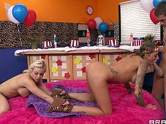 It's Xander's lucky day, because he's with three gorgeous babes, that are horny and eager to do everything for cum. Britney, Juelz and Brandy begin by sucking his cock and sharing it, until the brunette Brandy bends over. She's getting fucked hard and deep from behind, while pleasing her girlfriend