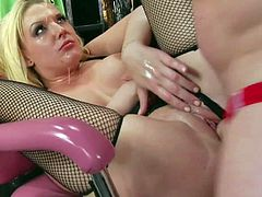 Tall mature and experienced fucker Evan Stone in red panties fucks hard cheep blonde hooker Tristyn Kennedy with bouncing ass in fishnet stockings and high heels in rough fantasy.