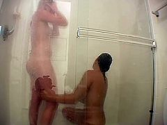 These stunning beauties love taking showers together and we get to enjoy two pussies and two pair of sexy, natural tits in one place.