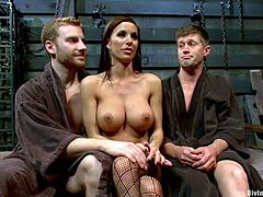 Stunning brunette mistress whips and tortures guy's nipples with claws. Then this dude gives a blowjob to another man. Gia also rides a dick and gets her pussy licked.