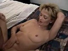 Blonde milf Trisha gets her snatch fingered and fucked in many positions