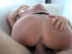Long haired curvy blonde bombhsell Summer Brielle with round bouncing ass and huge juicy tits gives head to Erik Everhard and rides on his cannon like crazy on couch.
