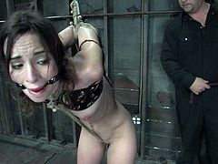 Stunning brownie gets undressed and tied up by her master. Later on she this babe gets toyed rough in both holes. She also gets her tits clothespinned.