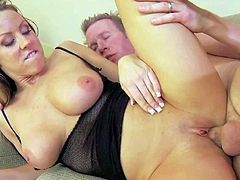 Big racked honey Carolyn Reese shows off her sexy huge titties in hardcore scene. This busty slut gets her shaved tight pussy banged balls deep. Watch her get shagged on the couch.