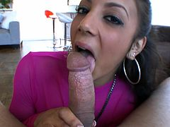 Superb beauty amazes in pure POV blowjob before having jizz all over her face