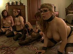 Lilla Katt, Nerine Mechanique and some other girls are having fun in the living room. They let some dude dominate them and rub their cunts with a vibrator.