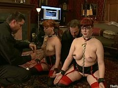 Lilla Katt and Nerine Mechanique let some man attach leads to their nipples. Then they fuck their vags with toys and moan huskily in pleasure.