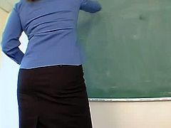 MILF teacher with big tits gets fucked by student.