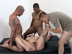 Check out this chubby trooper as she gets laid out and fucked hard by three guys in this gangbang video before she is loaded down with jizz.