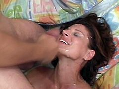 Sexy brown-haired chick Isabella allows her man to eat her sweet pussy. Then she jumps on his prick and they fuck doggy style and the guy uses the hottie's face as a cum target.