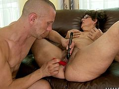 Watch this old lady suck that large cock of her new friend with muscles who is not as same age as her in 21 Sextury sex clips.