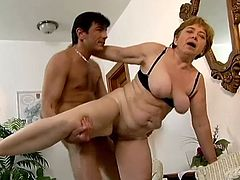 Experienced old woman gives a blowjob and then gets her old pussy fucked hard by much younger guy. She also gets a mouthful.