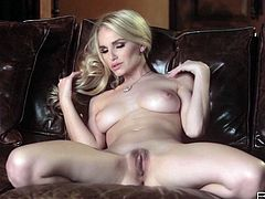 Angelic looking blonde babe with appetizing natural tits rubs her perky titties moaning and quivering with pleasure. She also fondles her hairy pussy in exciting softcore solo masturbation clip.