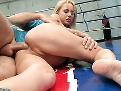 Blonde with big breasts opens her legs to take mans sturdy tool in her muff