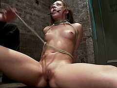 Nasty brown-haired chick Remy LaCroix is eager to get punished for her bad behaviour. Some guy face-fucks her ardently and then rubs her shaved pussy till she cums.