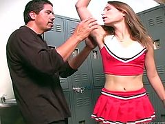 Admirable brown-haired cheerleader Amber Rayne is having fun with Frankie Chingon in the locker room. She allows the dude to lick her snatch and then rubs his wang and lets the man cum on her armpit.