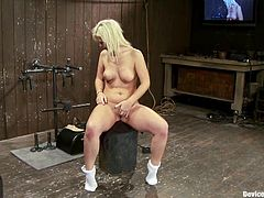 Sexy blonde babe gets her tits tortured with ropes and claws. Later on she also gets her tongue pinched and pussy toyed.