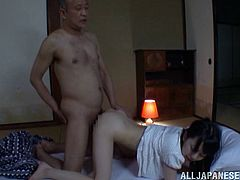 Cute Japanese girl wakes up because the tricky old fart kisses her and licks titties. This babe spreads the legs and gets fucked in her hairy pussy.