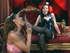 Anastasia Pierce and Devon Michaels are two amazing babes in sexy lingerie. They have an amazing lesbian sex and also lick feet.