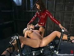 Both of them are in latex suits and that makes them look so dirty minded. So, Barbara lures Isis in the bondage device to get a full access to her wet treasures!