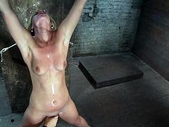 Blonde hottie gets gagged and tied up with ropes. After that the guy starts to whip and toy this chick.