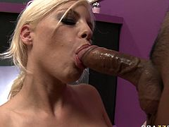 Naughty blonde girl with big boobs is looking sweet wearing pink color maid's uniform. She gets seduced by horny landlord so she facesits him while giving him deepthroat blowjob in 69 position.