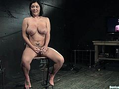 Busty mom Claire Dames cums a few times while being tormented