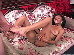 Watch this mulatto chick pleasing her boyfriend using only her legs while he grabs her titties in Fame Digital sex clips.