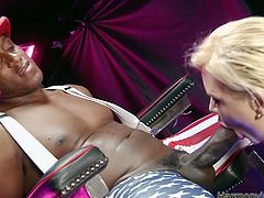Slutty blonde mom has got curvy body with big natural boobs and phat ass. Hefty woman is wearing tight corset while fucking in hardcore interracial porn vid. She sucks the rod deepthroat and jumps on a stem intensively.