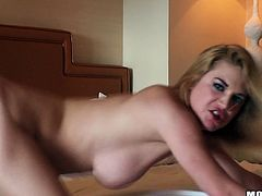 Naughty blonde wench with saggy natural tits is riding solid prick on top. She later stands on her all four lifting her ass up in the air. She gets nailed deep and rough from behind.