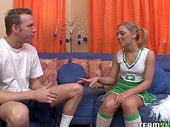 This sexy cheerleader has a surprise for her teacher and it's a great one indeed. Shapley harlot wants to fuck him silly. At first, she pleases him with a blowjob. A bit later she rides him in reverse cowgirl position.