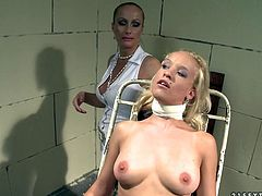 This horny mistress knows a lot about torture techniques. She dominates this spoiled wench viciously squeezing her well-shaped titties hard.
