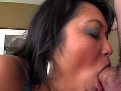 Asian slut Mika Tan does her best to make her fuck buddy explode. She sucks his hard dick like theres no tomorrow and then gets her nice juicy tits fucked. He finally shoots his load on her face.