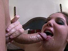 Slender Kiki Daire swallows tasty white cum