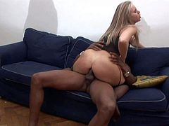Cheep turned on blonde milf in corset and stockings screams loud while two black dudes with monster cocks drill deep her huge round pale ass all over the place.