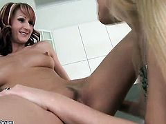Blonde Erika Venus loves the way Donna Bell licks her wet spot