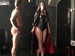 This tall and leggy sex goddess with large thighs wants to teach her sex slave some good manners. She makes him worship her fake phallus. Then she fucks his tight butthole ruthlessly in and out loosening up his once tight hole.