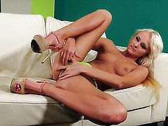 Ivana Sugar with tiny tities and shaved muff does her best to make your cock harder in solo scene
