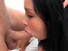 Wild double penetration is what Ana is living though and enjoying. Honey bends over and gets dicked doggy style, being gagged with a huge cock at a time!