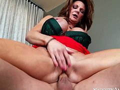 Passionate mature woman is a proprietress of gorgeous body shape with giant fake tits. She sucks meat pole deepthroat. She then gets on top of hard stick jumping actively.