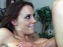 You can't bring a sexy babe like Chanel Preston to your office and let her clothes stay on. Buxom seductress loves to fuck! She spreads her legs wide indicating how bad she wants her boss to fuck her snatch. He pounds her mercilessly in and out making her groan with pleasure.