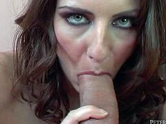 This brown-haired slut is so impressed by the size of her lover's dick that she can't resist trying it out. She sucks it greedily to get it hard and ready. Then he fucks her muff in doggy position.