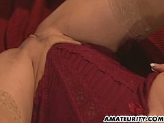 This blonde milf enjoys a hard cock to the fullest. She takes it in all her holes in order. First in her mouth, then her pussy and then in her ass hole. She squirts too.