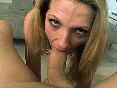 Slutty milf is simply amazing by how deep she is sucking this cock in POV
