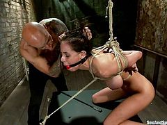 She has rope wrapped around her arms and chest, and her master whips out his cock, and shoves it into her face. He face fucks her, until she is choking on her own spit, coughing it up. She wants to get away, but she can't.