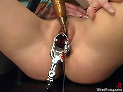 Kendra lies in a gynecological chair and gets her tits tortured with electricity by Nicolette. After that Kendra gets whipped and toyed with an electric dildo.