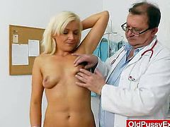 Gray grandma with unexpected nice and big natural titties and unshaved haired pussy. She run a liquor store. In her haired cunny inspection you will see: physical checkup, big natural breasts checkup