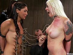 Some guys fixes dozens clothespins on girls' bodies. They cannot do anything because they are tied up. Later on the blonde licks brunette's pussy and gets toyed.