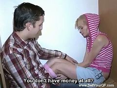 Blonde teen babe need money badly to get her abortion done on time.But the only problem between her and abortion is money.He old friend comes with an idea to earn quick money is by letting his friend fuck her hard and pay her good money.Problem solved for stupid pregnant teen!